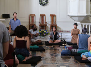Meditation in large hall