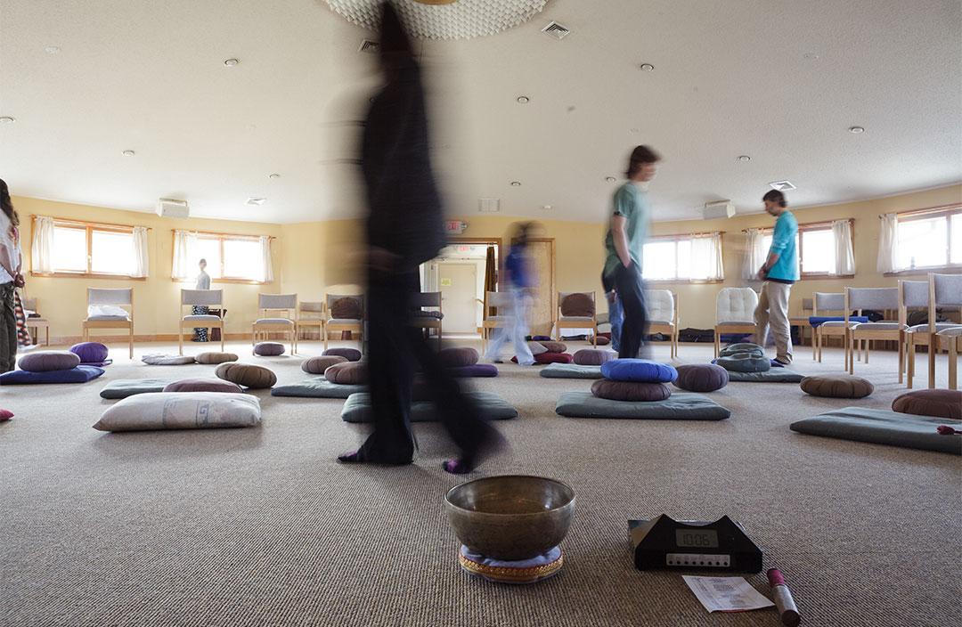 Walking meditation on retreat