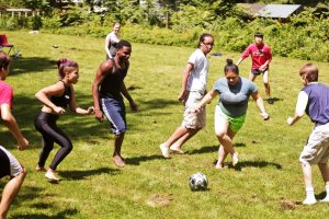 Playing soccer on retreat