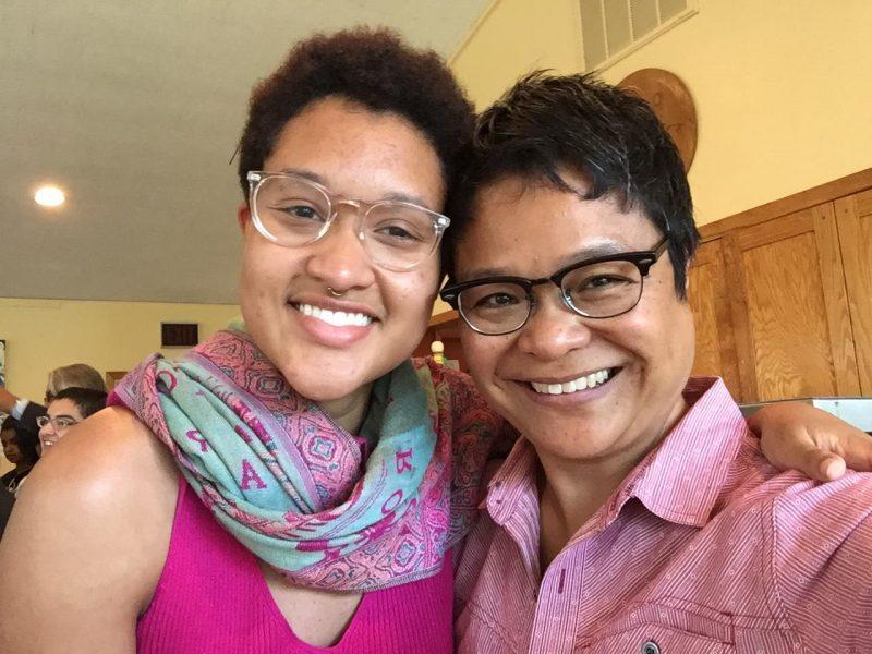 Two retreat participants smiling