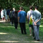 Retreat participatns walking in silent meditation