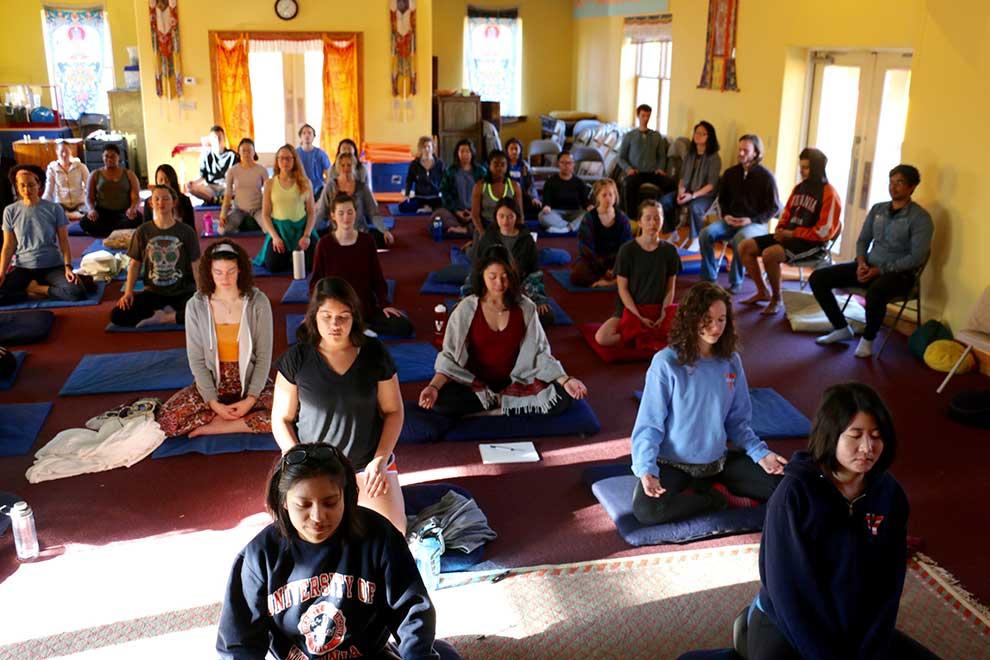 Group meditation inside