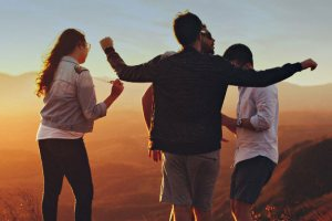 Young adults on ridge