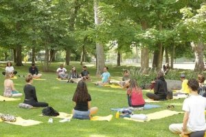 Group meditation outside in grass