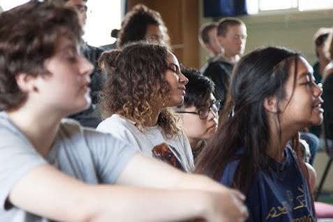 Teens sitting durring talk on retreat