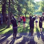 Retreat group stretching outside